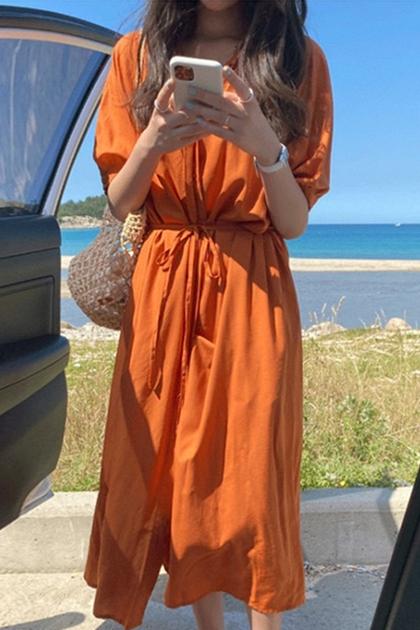 顯白橘色翻領綁帶開釦收腰襯衫洋裝