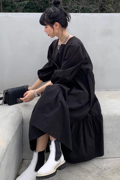 優雅方領澎澎袖洋裝*2色