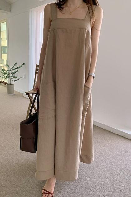 法式方領寬鬆吊帶洋裝*3色