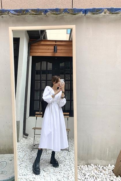 荷葉雕花蕾絲V領腰綁帶襯衫洋裝