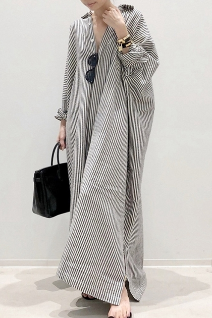 慵懶條紋加長襯衫洋裝