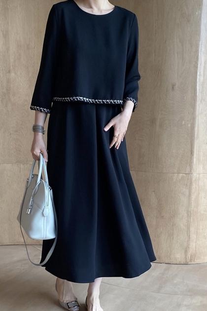 W法式優雅時髦假兩件層次感設計高腰洋裝*2色