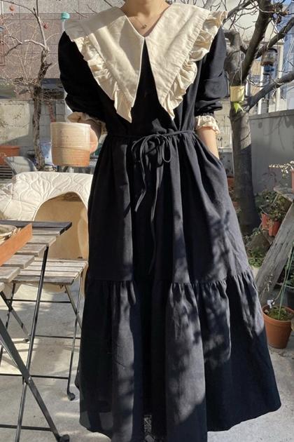 甜美荷葉翻領綁帶收腰大擺裙洋裝*2色