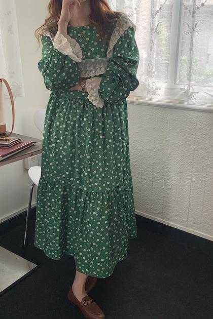 W甜美氣質滿滿碎花蕾絲洋裝*綠