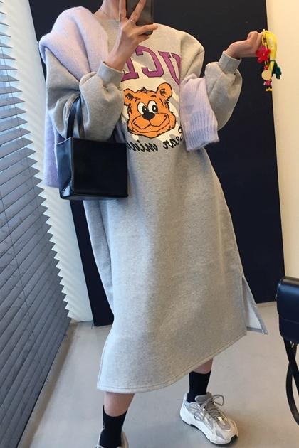 童趣UCLA熊寬鬆長袖加絨衛衣洋裝*4色