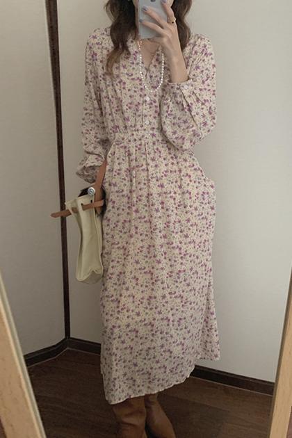 法式V領碎花設計系帶收腰顯瘦洋裝*2色