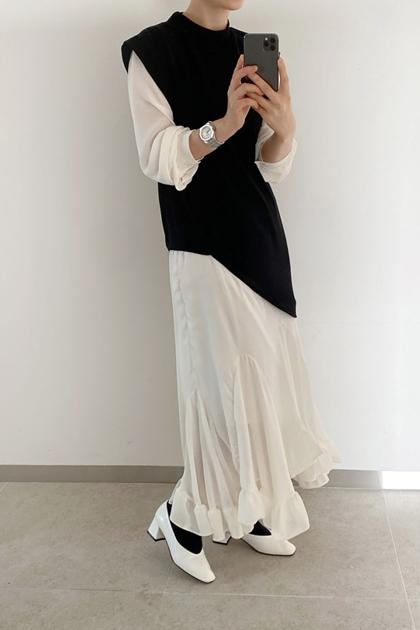 設計款撞色拼接假兩件不規則荷葉邊洋裝*2色