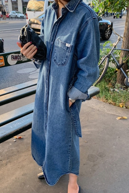 復古腰綁帶排釦車線口袋襯衫牛仔洋裝