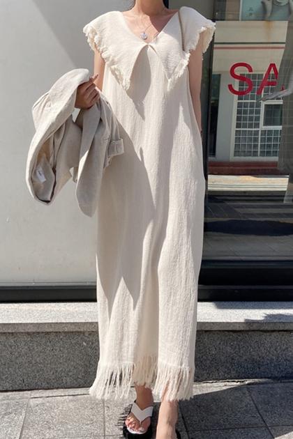 嬉皮流蘇大翻領洋裝*2色
