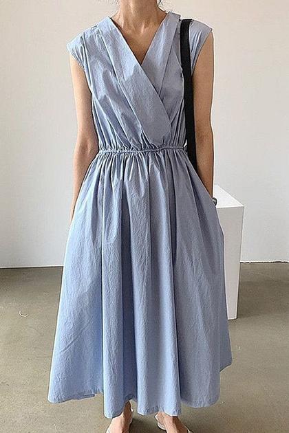 氣質輕熟交疊領收腰洋裝*3色