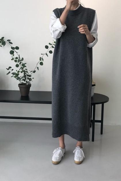 知性素雅圓領加長背心針織洋裝*2色