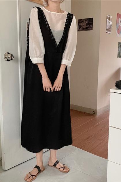 蕾絲花邊V領背心裙洋裝