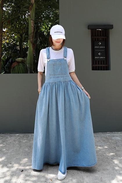 蓬蓬牛仔吊帶洋裝