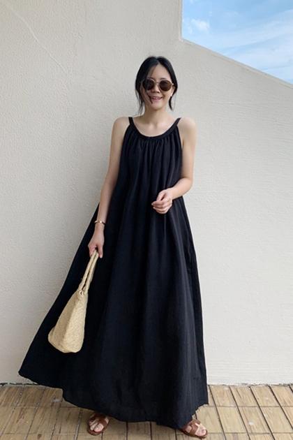 純色棉麻細帶洋裝*2色