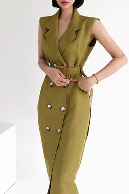 輕熟西裝領雙排釦繫腰帶洋裝