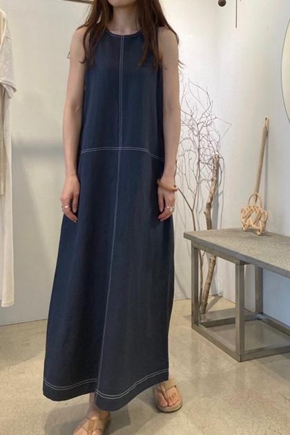 簡約無袖棉麻車線背心洋裝*2色