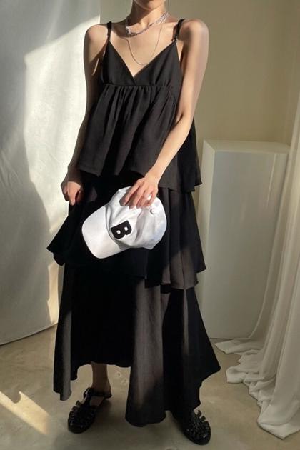 顯瘦V領層層荷葉邊蛋糕吊帶洋裝*3色