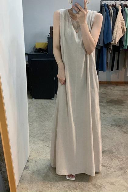 素雅後綁帶慵懶背心洋裝*2色