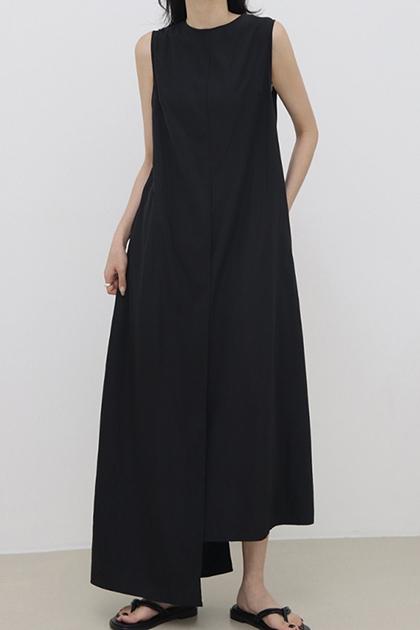 純色不規則開衩背心洋裝*2色