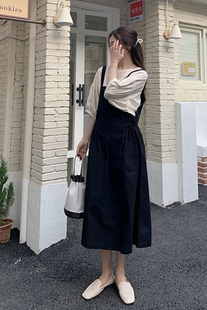 抽繩收腰吊帶洋裝*2色