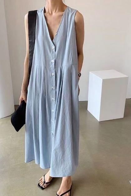 兩面穿無袖v領排扣襯衫式背心裙洋裝*3色