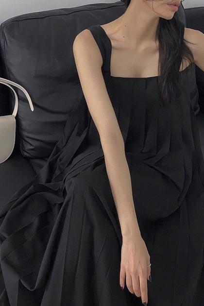 百摺設計加長背心洋裝*2色