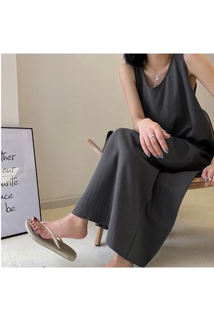 正韓韓國製純色加長背心洋裝*3色
