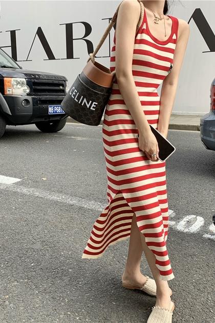條紋開岔背心洋裝*紅