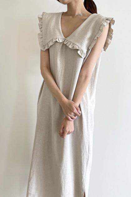 荷葉娃娃領無袖洋裝*2色