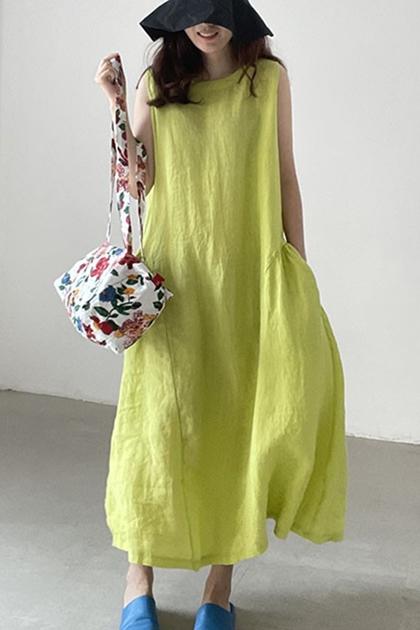 法式慵懶風芥末黃寬鬆無袖背心洋裝