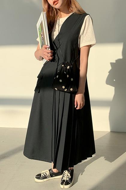 W氣質V領交叉兩釦百褶無袖背心洋裝*2色SML