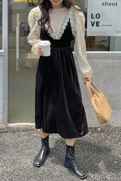 W寬鬆泡泡袖襯衫+蕾絲鉤花絲絨背心洋裝套裝