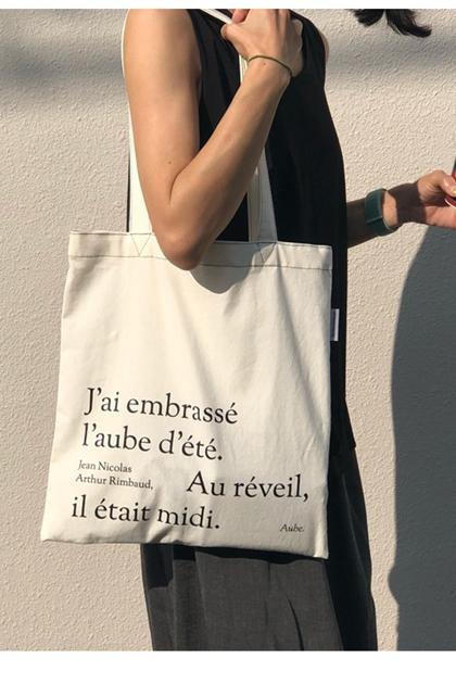 Chic法式英文字母帆布手包提購物袋*米