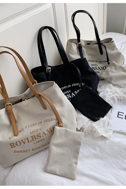 時尚字母印圖釦環揹帶側背包購物袋*3色
