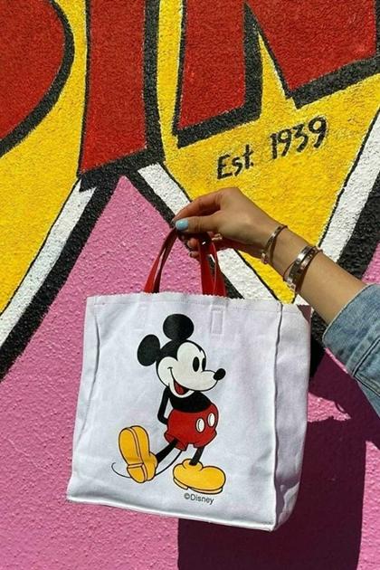 可愛卡通印圖撞色帆布手提袋