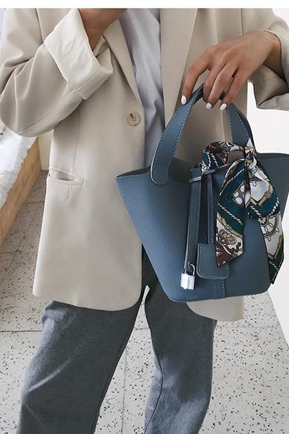 時尚綁絲巾鎖扣皮革手提包*6色