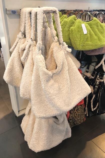 復古保暖羊羔毛側背托特包購物袋
