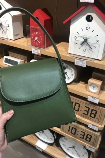 莫奈油畫綠仿真皮斜挎包側背手提包