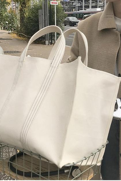 ins簡約大容量帆布購物袋手提包*米