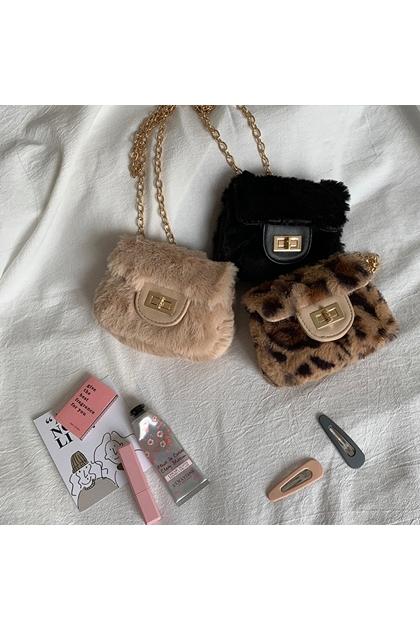 迷你MINI豹紋小香風毛毛鏈條包*3色