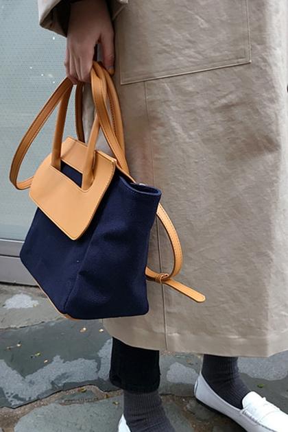 設計款拼色手提帆布水餃手提側背包*深藍