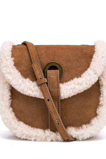 嘻皮羊羔毛滾邊側背包*2色