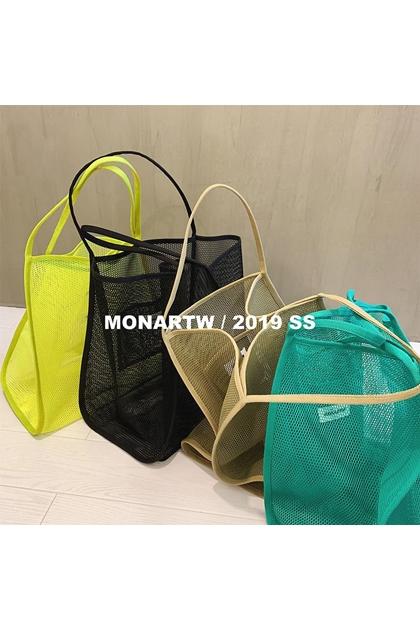 海灘必備透視感網狀購物袋側背包*4色