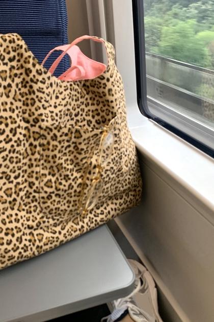 豹紋手提購物袋側背包