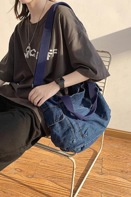 隨性大容量牛仔手提側背包*2色