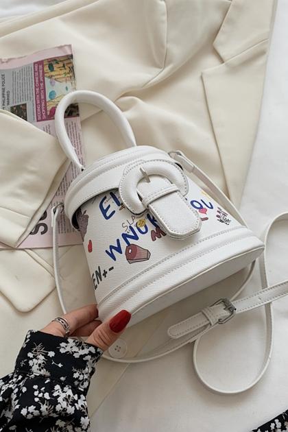 W潮流塗鴉手提側背水桶包*2色
