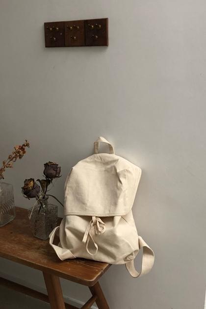 自然系麻米帆布後背包